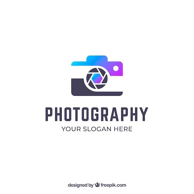 Logo de fotografía con colores degradados vector gratuito