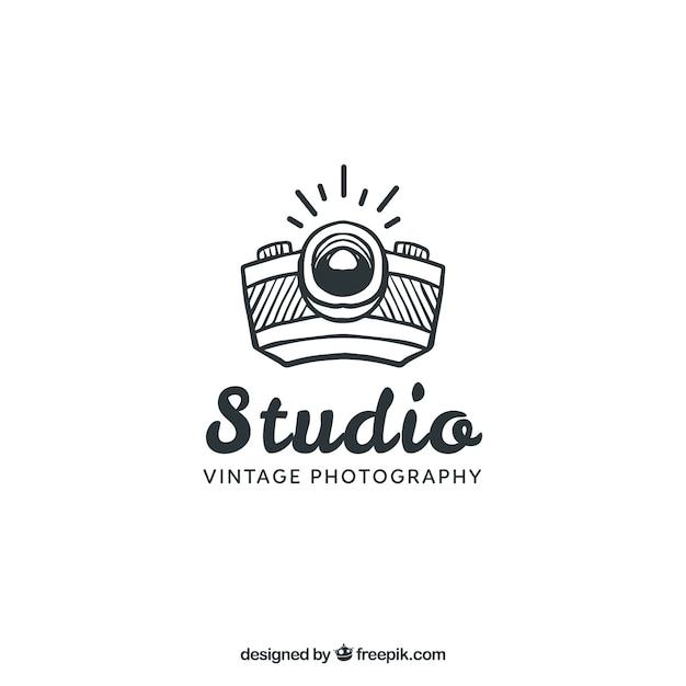 Logo de fotografía con vista lateral Vector Premium