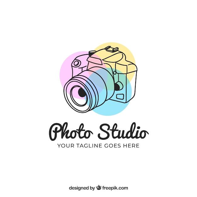 Logo de fotografía con vista lateral vector gratuito