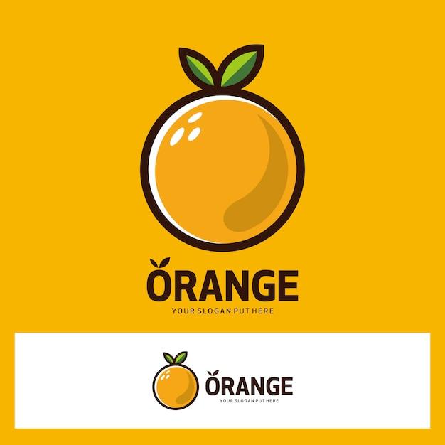 Logo de fruta naranja Vector Premium