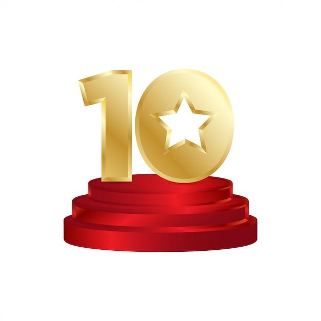 Logo ganador de diez estrellas | Vector Premium