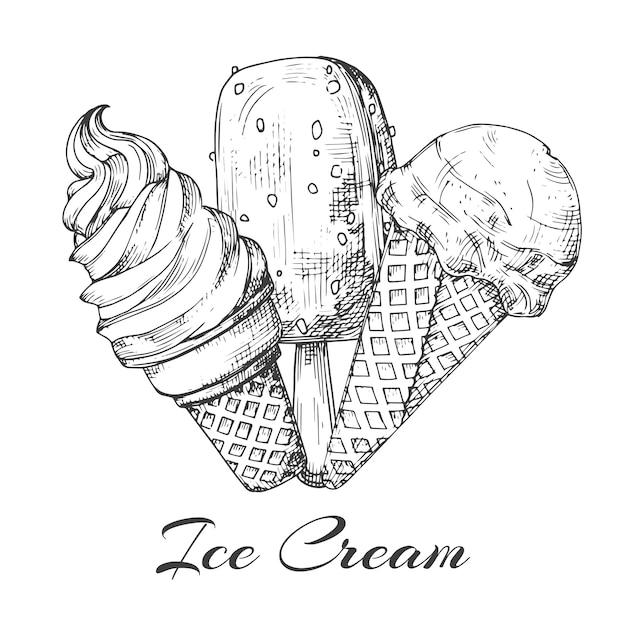 Logo de helado dibujado a mano. bosquejo de helado sobre fondo blanco. Vector Premium