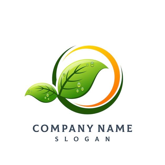 Logo de hoja de arbol Vector Premium