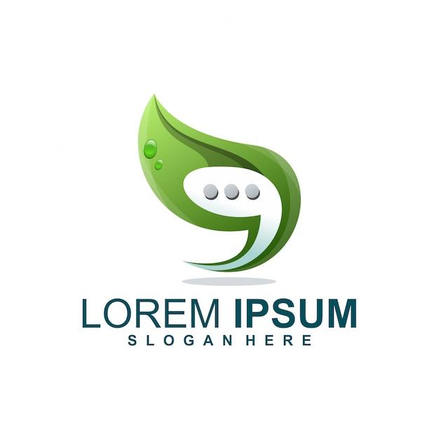 Logo de hoja de chat Vector Premium