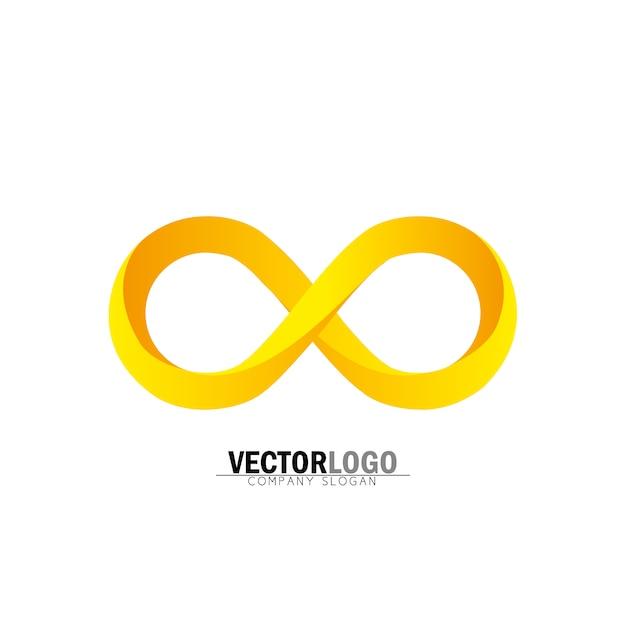 Logo de infinito dorado vector gratuito