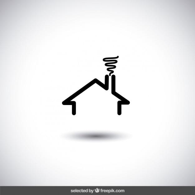 Logo de inmobiliaria de casa negra vector gratuito