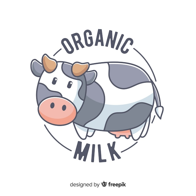 Logo leche orgánica vaca adorable vector gratuito