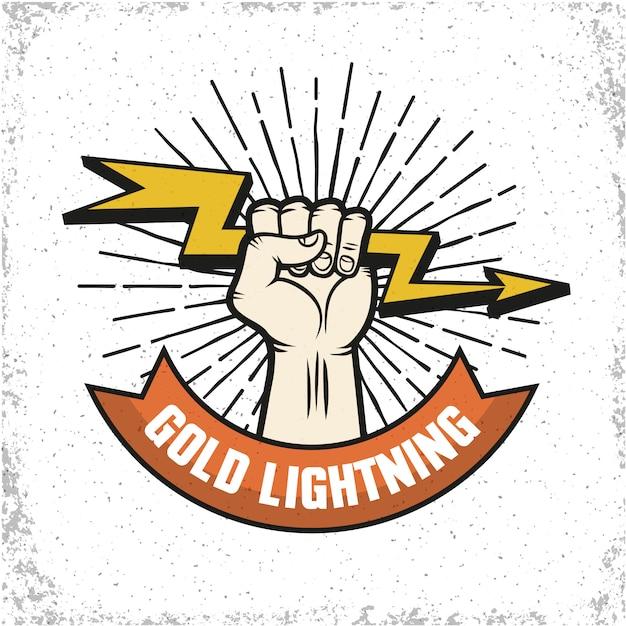 Logo de lightning emblema vector gratuito