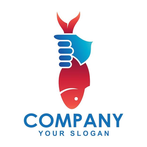 Logo de la mano que sostiene peces Vector Premium
