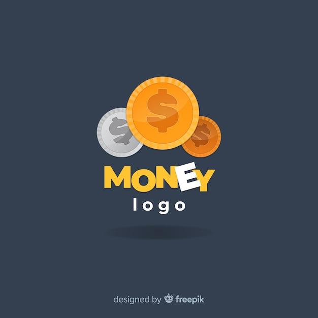 Logo moderno de dinero con diseño plano vector gratuito