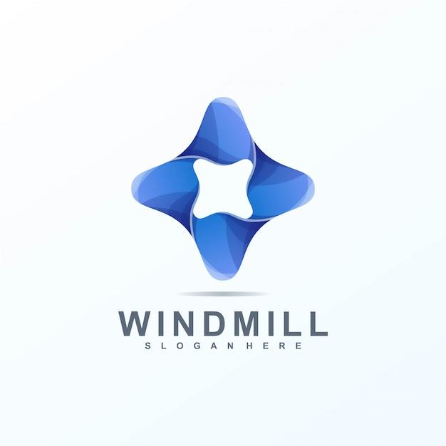 Logo de molino de viento Vector Premium