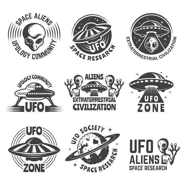 Logo monocromo engastado con alienígenas, ufo y espacio. Vector Premium