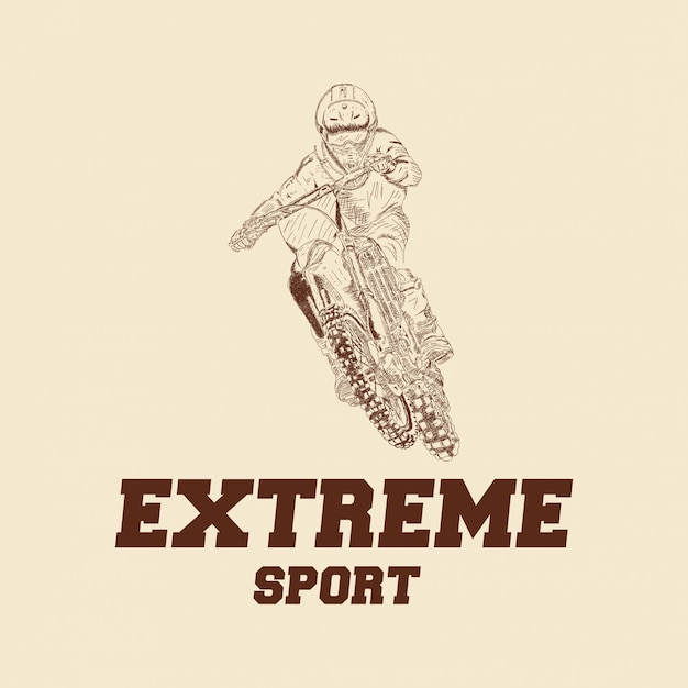 Logo de motocross rider badge Vector Premium
