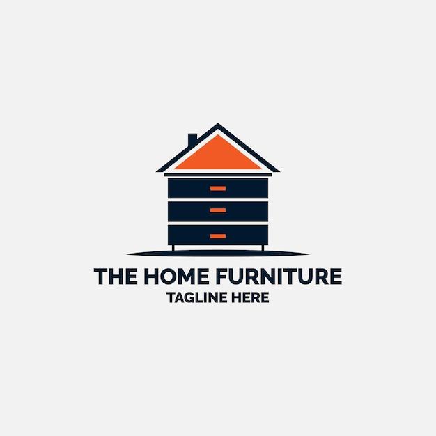 Logo de muebles minimalistas en forma de casa vector gratuito