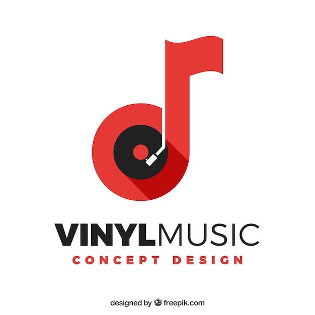 Logo de música con nota y vinilo vector gratuito