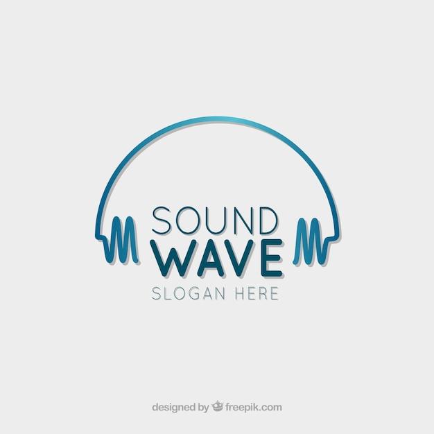 Logo de onda de sonido con diseño plano vector gratuito
