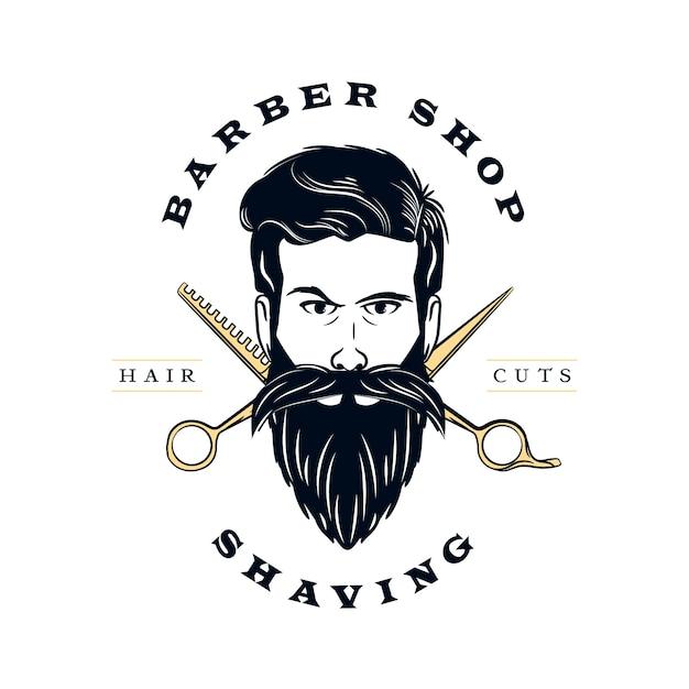 Logo de peluquería retro Vector Premium