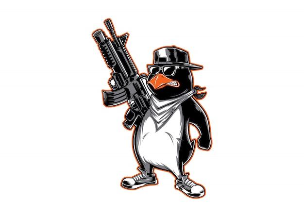 Logo de personaje pinguin Vector Premium