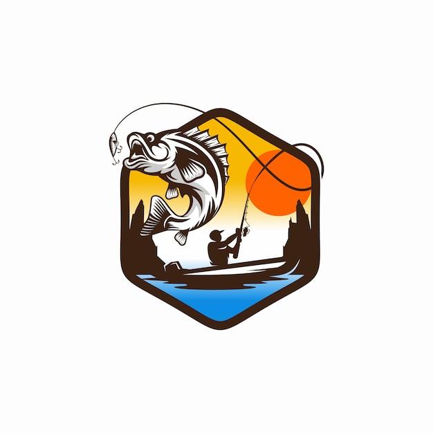 Logo de pesca vintage Vector Premium