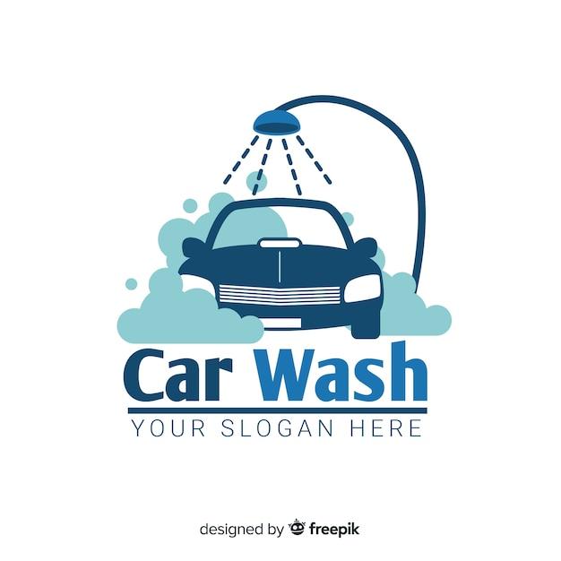 Logo plano azul lavado de coches vector gratuito