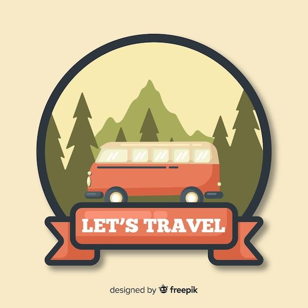 Logo plano vintage de viaje vector gratuito