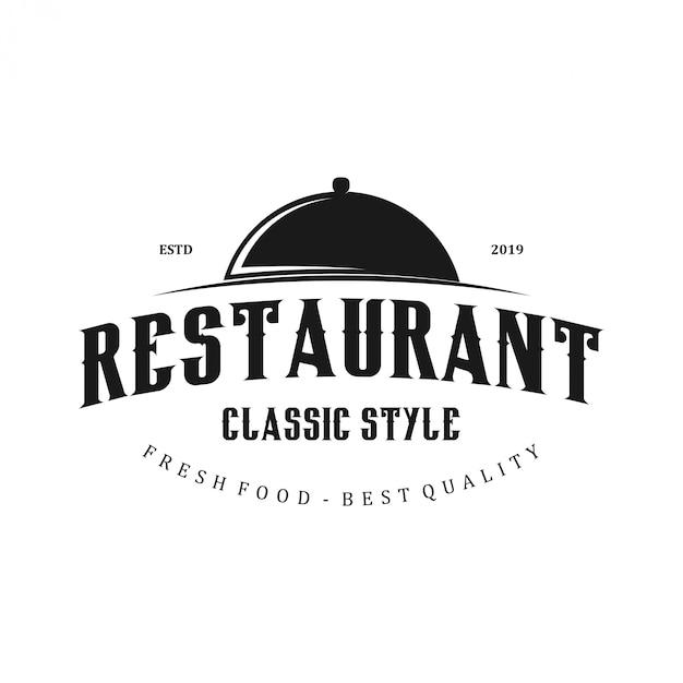 Logo del restaurante con el icono de tapa de olla Vector Premium