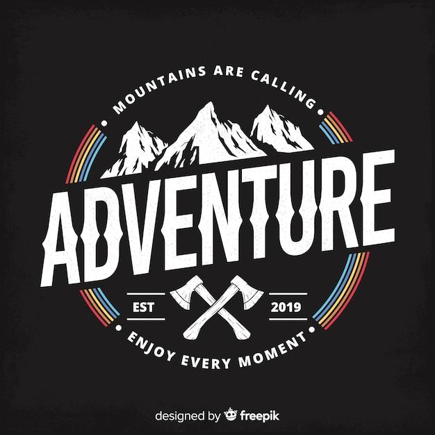 Logo retro de aventuras vector gratuito