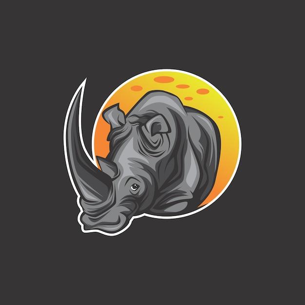 Logo de rinoceronte Vector Premium