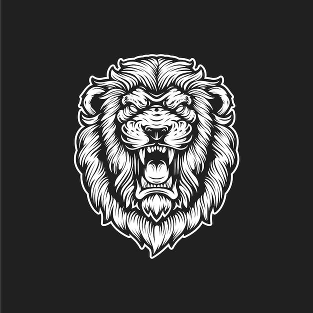 Logo rugiente de león Vector Premium