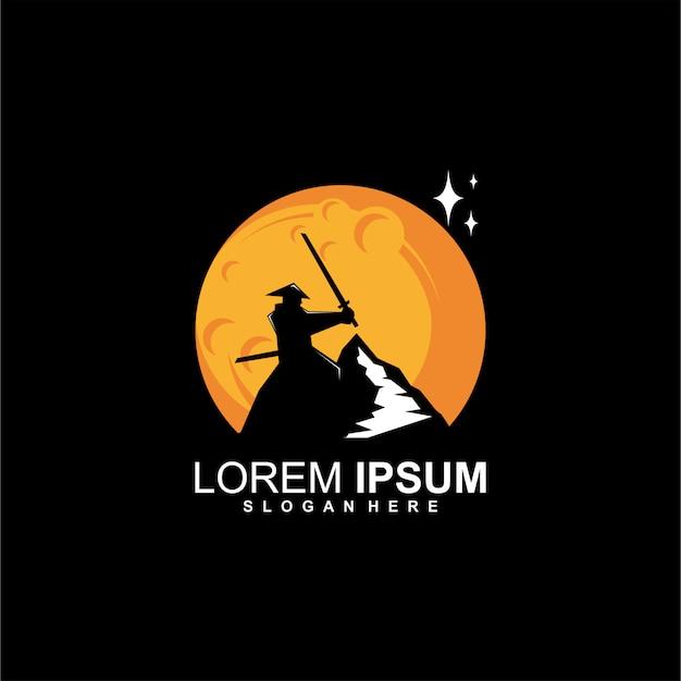 Logo de samurai de montaña Vector Premium