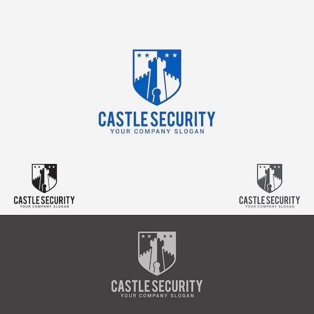 Logo de seguridad del castillo Vector Premium