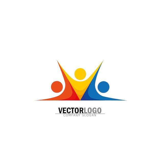 Logo simétrico de negocios vector gratuito