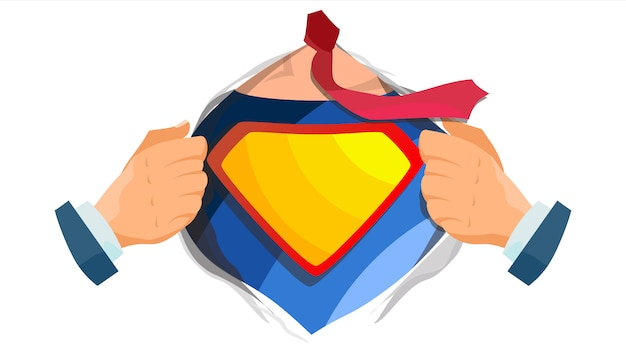 Logo de superhéroe escudo amarillo, rojo. Vector Premium