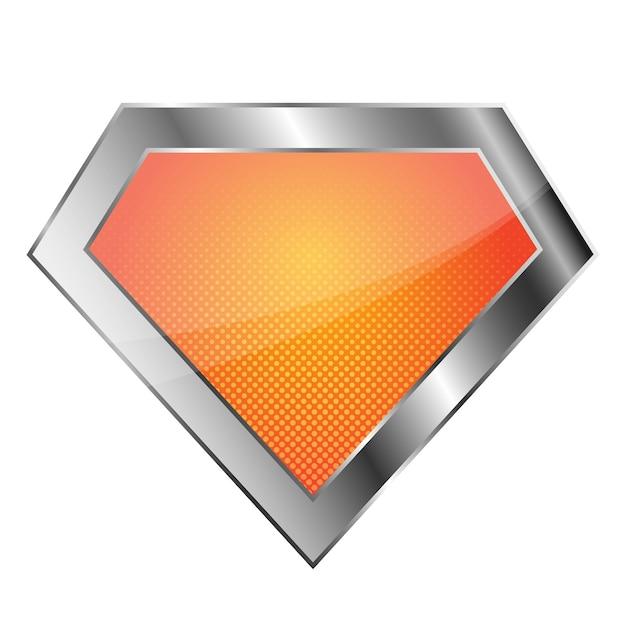 Logo de superhéroe plateado brillante sobre fondo blanco. logotipo de diamante brillante. Vector Premium