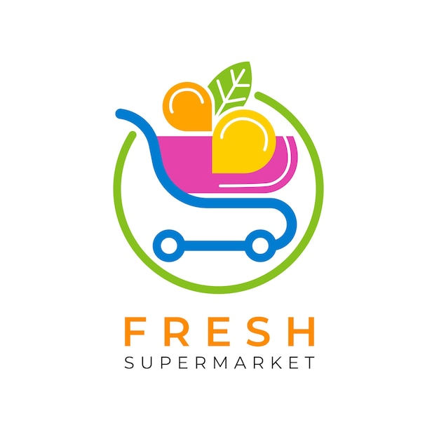 Logo de supermercado con carrito de compras vector gratuito