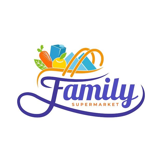 Logo de supermercado con comestibles vector gratuito
