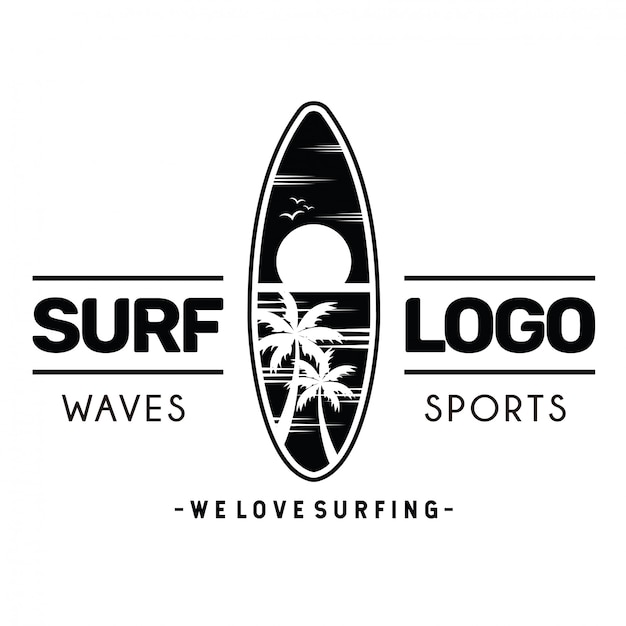 Logo de surf Vector Premium
