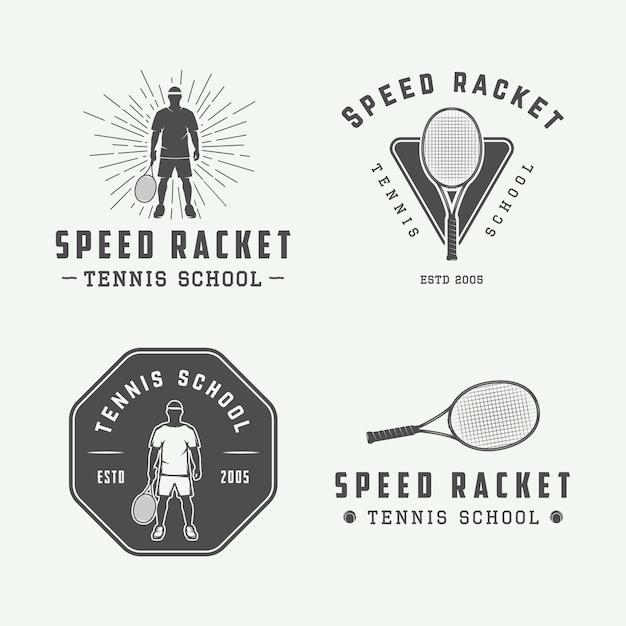 Logo de tenis setor emblema Vector Premium
