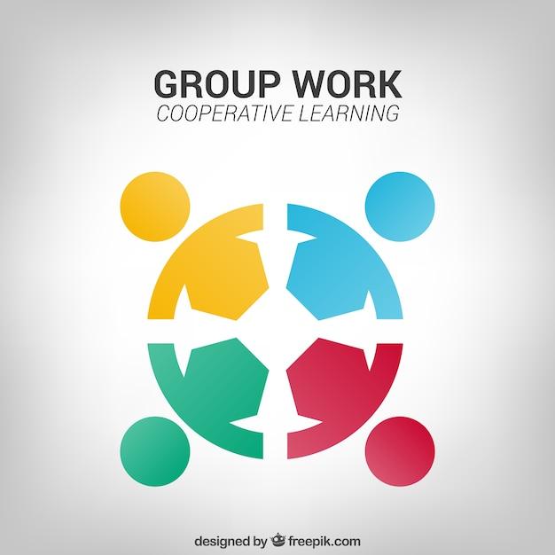 Logo de trabajo en grupo vector gratuito