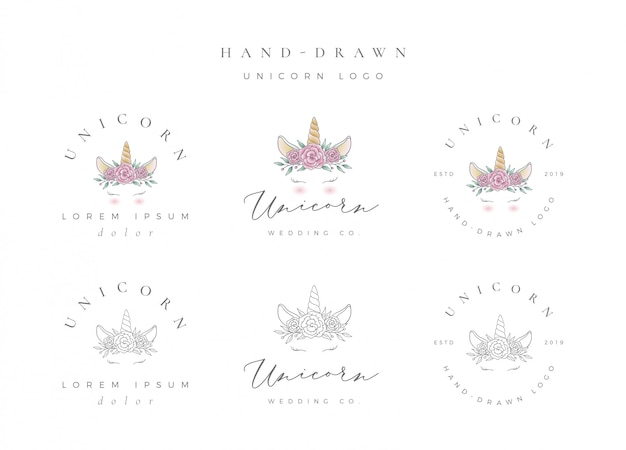 Logo de unicornio dibujado a mano Vector Premium