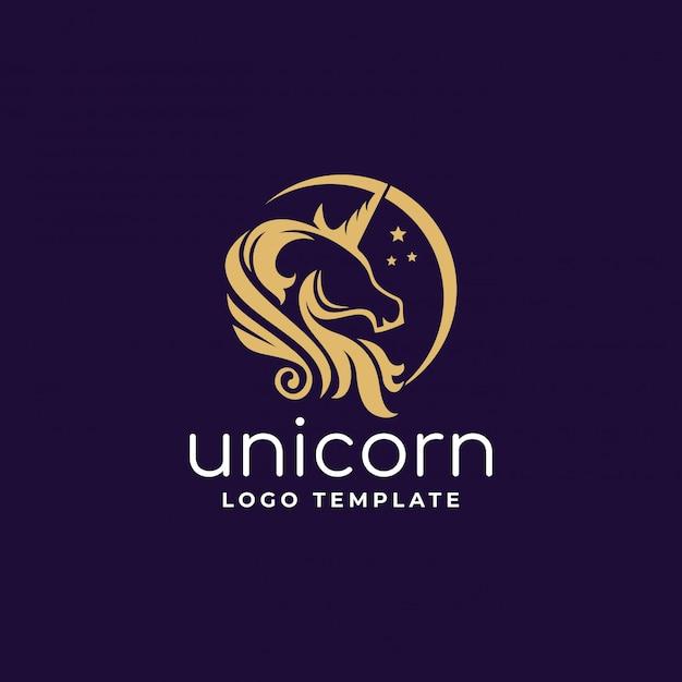 Logo de unicornio con media luna Vector Premium