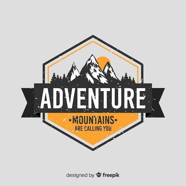 Logo vintage de aventura vector gratuito
