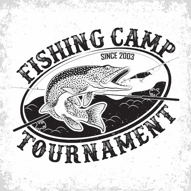 Logo vintage del club de pesca Vector Premium