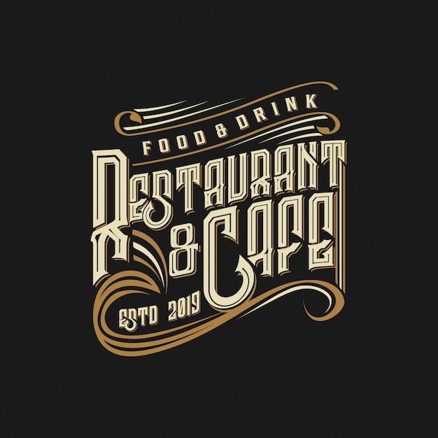 Logo vintage para comida y bebida de restaurante. Vector Premium