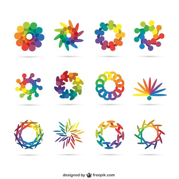 Logos abstractos en colores del arcoiris   Descargar Vectores gratis