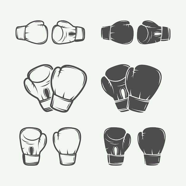 Logos de boxeo y artes marciales Vector Premium