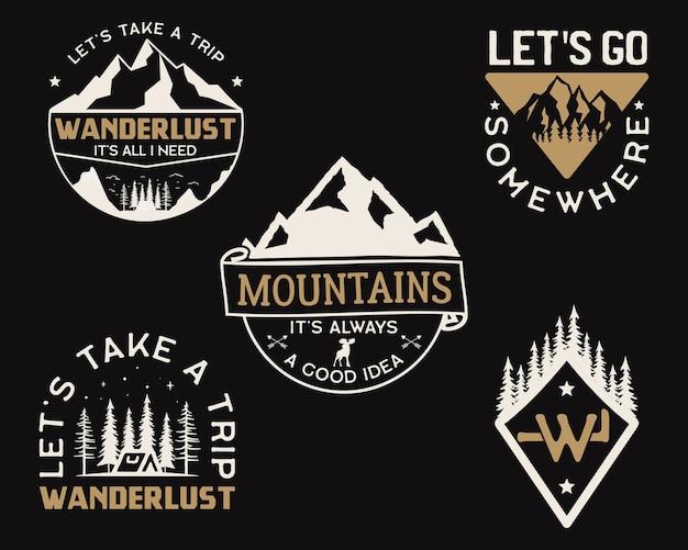 Logos de campamento de montaña vintage, juego de insignias de aventura. Vector Premium