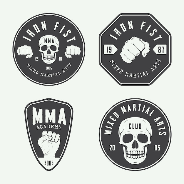 Logos de clubes de lucha, emblemas. Vector Premium
