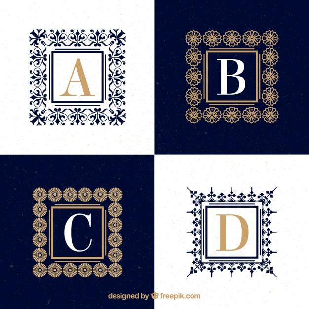 Logos de letras may sculas ornamentales con marcos for Logos con letras