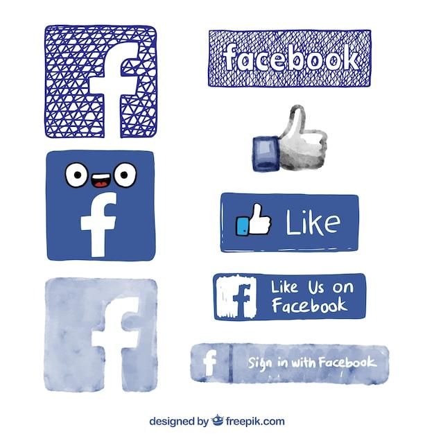 Logos de facebook dibujados a mano Vector Premium